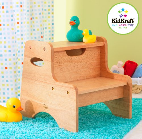 Image of KidKraft Wooden Two-Step Children's Stool with Handles - Natural