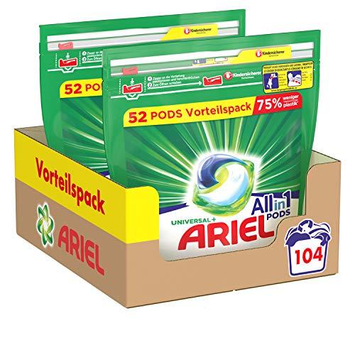Ariel Waschmittel Pods All-in-1, Strahlend Rein, Umweltschonendes Waschen, 104 Waschladungen
