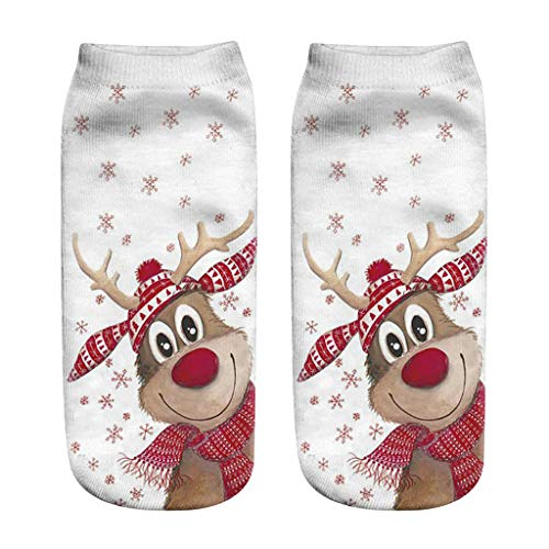 Xinantime Unisex Christmas Socks, Women Men Casual Printed Low Cut Ankle Socks Cute Funny 3D Christmas Elk Santa Claus Cotton Socks (Free Size, A)