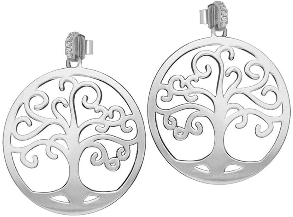 Boccadamo, orecchini per donna ,in bronzo rodiato, con pendente albero della vita Xor495