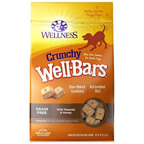 Wellness WellBars Natural Grain Free Crunchy Dog Treat Biscuits, Peanuts & Honey, 45 -Ounce Box