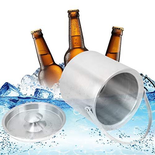 【𝐒𝐞𝐦𝐚𝐧𝐚 𝐒𝐚𝐧𝐭𝐚】 Cubo de hielo, aislamiento de acero inoxidable grueso de 3L Cubo de hielo Cerveza Barril Enfriador de botellas de vino Utensilios para vino