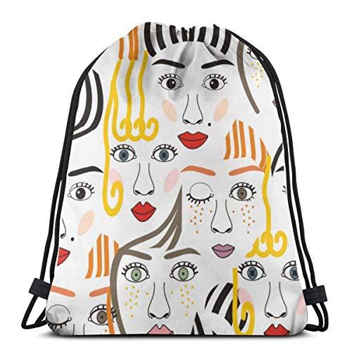 Ahdyr Mochila con cordón para niñas con ojos, pelo, narices y labios para mujer, ligera, para almacenamiento