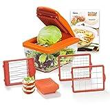 Genius Nicer Dicer Chef S Food Processor | Picador de cebolla | Mandolina cortador de verduras 8 en 1 cortar verduras en dados, acero inoxidable, plástico, naranja, 21 x 12 x 8 cm