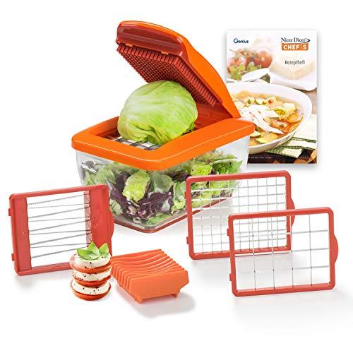 Genius Nicer Dicer Chef S Food Processor | Tritatutto per cipolla | Mandolino tagliaverdure 8 in 1 in acciaio inox, plastica, arancione, 21 x 12 x 8 cm