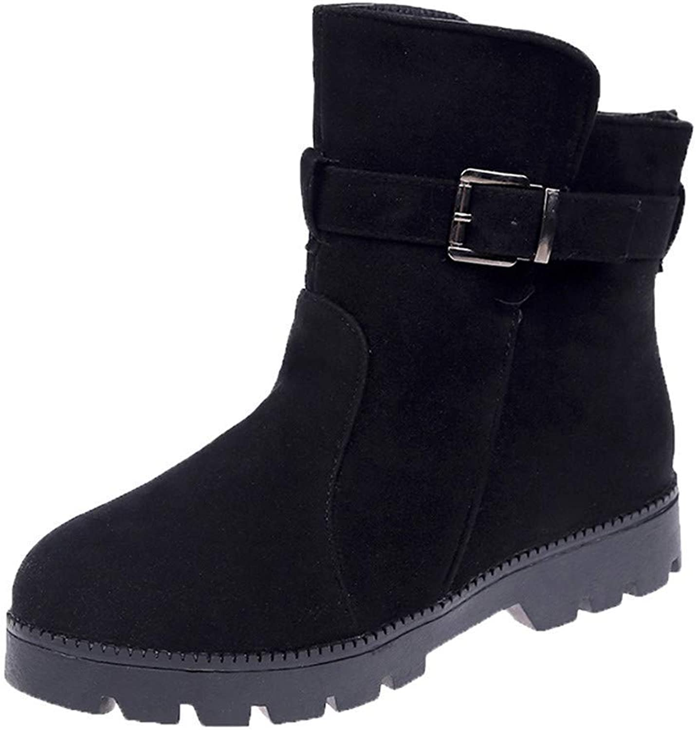 Dolwins Flat shoes Snow Boots for Women Suede Buckle Strap Boots Round Toe Warm shoes