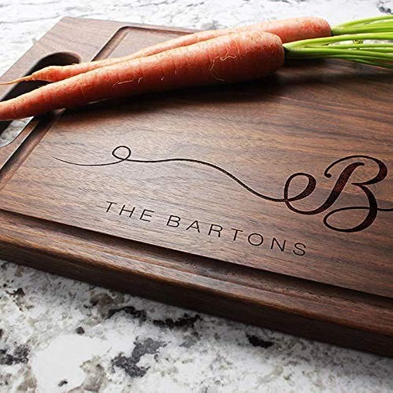Cursive Monogram Personalized Cutting Board With Handle Engraved Cutting Board Custom Cutting Board Wedding Housewarming Anniversary Engagement W 080 GB