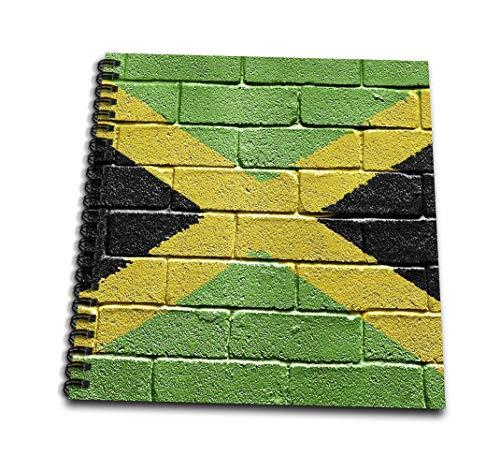 3drose DB 156913 1 nationale vlag van Jamaica geschilderd een bakstenen muur Jamaicaans tekenboek, 8 van 20,3 cm