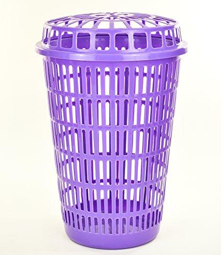 Circular Plastic Laundry Linen Basket Bin Storage Hamper with Lid (Purple)