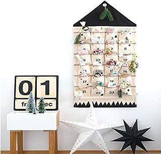 ZuoLan Calendario de Adviento para Rellenar Navidad Calendario rellenable, 24Bolsillos plástico Navidad Calendario para Colgar Navidad Lichen Ornamente