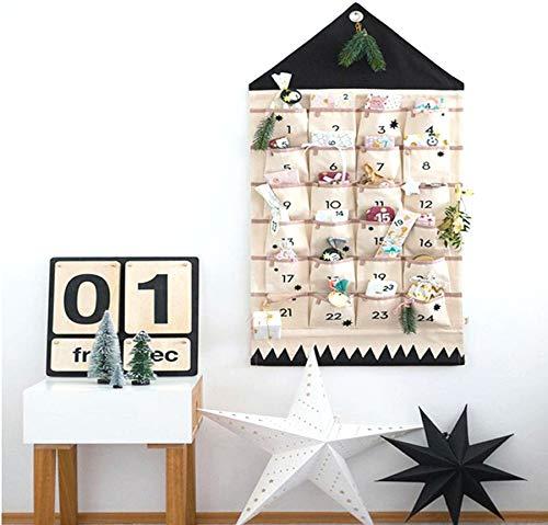 ZuoLan Adventskalender zum befüllen Weihnachten Kalender befüllbar,24 Taschen Stoff Weihnachtskalender zum Aufhängen Weihnachtlichen Ornamente