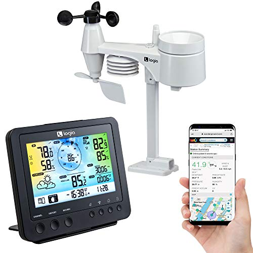 Logia 5-in-1 Wi-Fi Weather Station | Indoor/Outdoor Remote Monitoring System Shows Temperature, Humidity, Wind Speed/Direction, Rain & More | Wireless LED Color Console w/Forecast Data, Alarm, Alerts