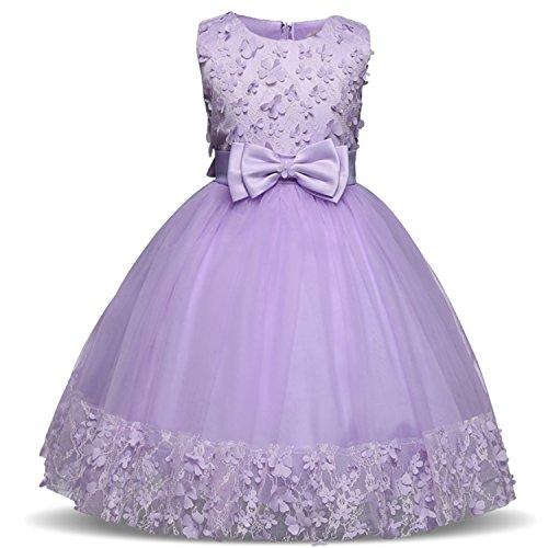 TTYAOVO Girl Princess Flower Bowknot Lace Baby Girls Wedding Christmas Party Dress 4-5 Years Purple (Size 120)