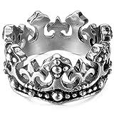 MunkiMix Edelstahl Ring Band Silber Ton Schwarz Königliche König Krone Ritter Fleur De Lis Kruzifix Kreuz Größe 60 (19.1) Herren