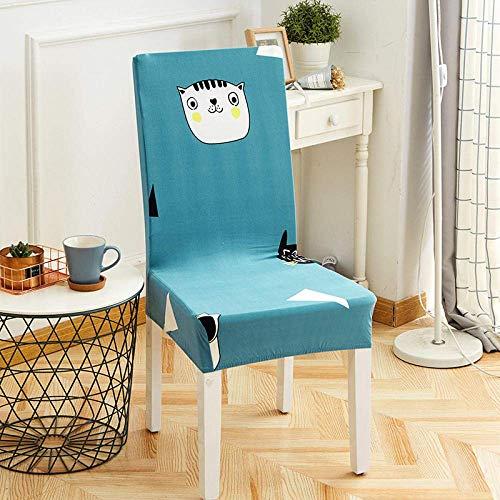 DQWGSS Stuhlbezug Blauer Tierhund Stretch Esszimmerstuhlbezüge Stuhllehne mit hoher Rückenlehne Schutzhülle Schonbezug, abnehmbare Schonbezüge aus weichem Spandex für die Küche des Hotelesszimmers
