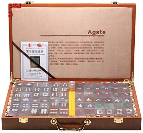 Leifeng Tower Neueste Chinesische Mahjong Fliese Spiele Mah Jong Game Set Brettspiel Chinesisch Traditionelle Mahjong Games Agate Entertainment Favorit Liebhaber (Farbe: Natürlich, Größe: 362818 mm)