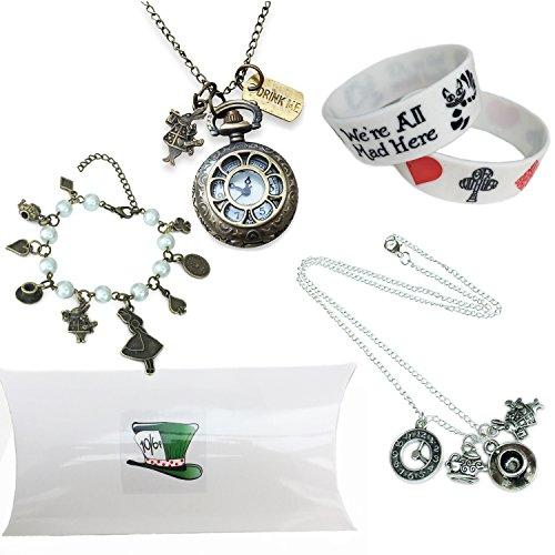 Orion Creations Alicia en el país de Las Maravillas de Regalo. Reloj, Collar y Brazalete de Caja de Reg