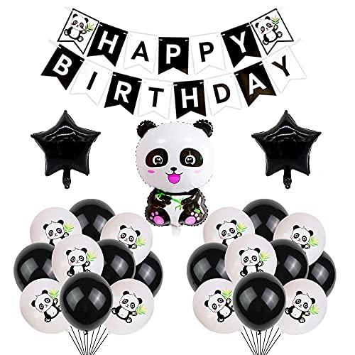 Panda Décoration Anniversaire Ballons Bannière de Joyeux Anniversaire Helium Ballon de Panda pour Enfants Thème Fête d'Anniversaire