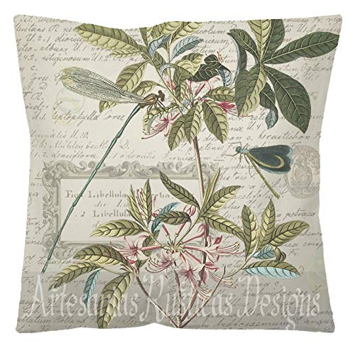 Toll2452 French Pillow Canvas Burlap Antique Dragonflies Botanical Farmhouse Woodland Cotton Canvas Throw Pillow Cover Euro Sham