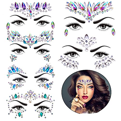 Rhinestone Face Gems Tattoo, Festival Face Jewels Tattoo Stickers, Rave Crystals Face Gems Stick on Face, Body Gem Stones Bindi Temporary Face Tattoos for Women Favor, 6-Pack,Colorful