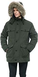 Men's Lined Hooded Thickened Insulated Winter Parka Jacket Anorak Puffer Coat with Removable Faux Fur Trim