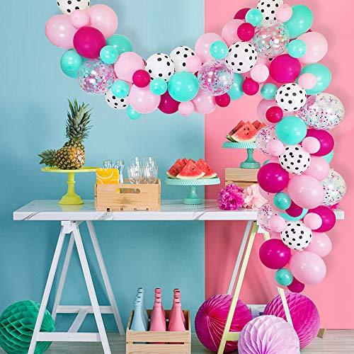 Kit de arco de guirnalda de globos 124 piezas Rosa Azul Negro Decoración de globos de fiesta Set para aniversario Boda Cumpleaños Decoración de fiesta de graduación