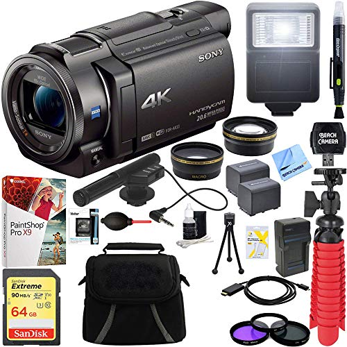 Sony FDR-AX33/B - 4K Camcorder with Mini Zoom Microphone + 64GB SDXC Memory Card + 0.43x Wide Angle + 2.2X Telephoto Lens Converter + Carrying Bag + Card Reader + Microfiber Cloth + Tripod+More