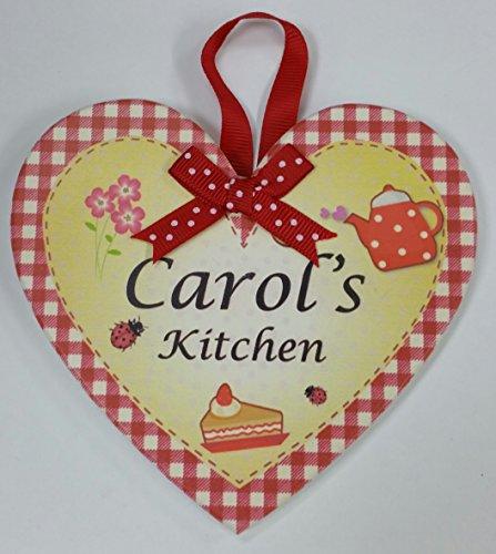 Carol nommé personnalisé en forme de cœur Kitchen Plaque magnétique par Sterling effectz