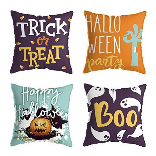 Halloween Pillow Covers 18×18 Inch Set of 4 Pillow Covers, Pumpkin Ghost Pillowcases, Halloween Decorations Cotton Linen Pillow Cushion