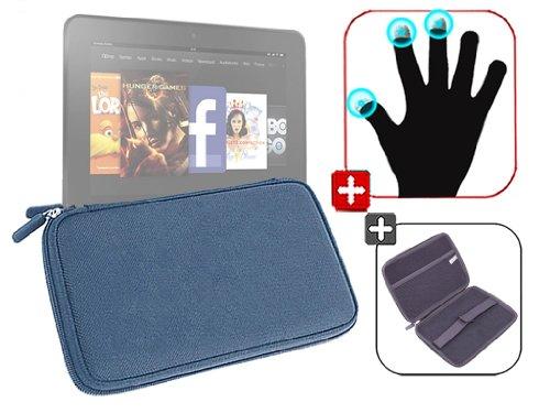 """DURAGADGET Housse étui résistant en EVA Rigide Bleu + Gants capacitifs conducteurs Taille S (Petit) pour Nouvelle Tablette Kindle Fire 7"""" d'Amazon – G"""