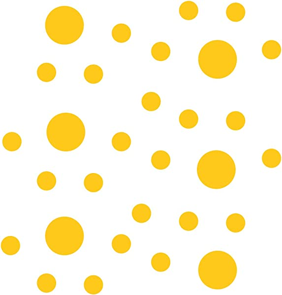 Yellow Vinyl Wall Stickers 2 4 Inch Circles 30 Decals