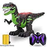 TEMI 8 Channels 2.4G Remote Control Dinosaur for Kids Boys Girls, Electronic RC Toys Educational Walking Tyrannosaurus Rex with Lights and Sounds Powered by Rechargeable Battery, 360 Rotation Stunt