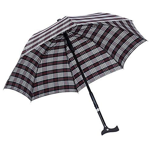 Paraplu Twin met frittgreep. 87-95 cm Karo zwart/blauw/rood/wit.