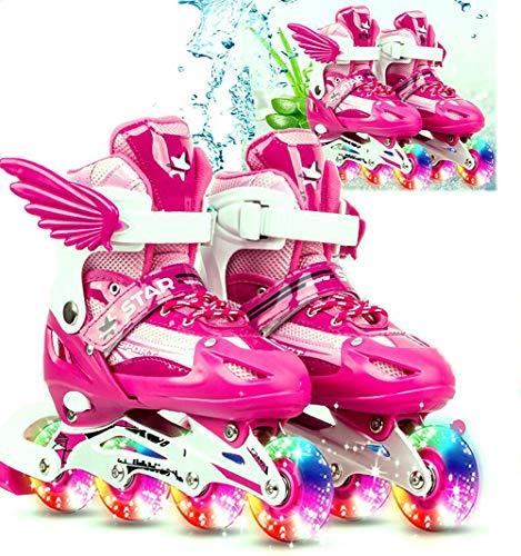 AMAZOM Inline-Skate - Verstellbare Rollschuhe, 4-Rad-Rollschuhe, Kinder, Mädchen, Erwachsene, Rollschuh-Set,Rosa,26~32