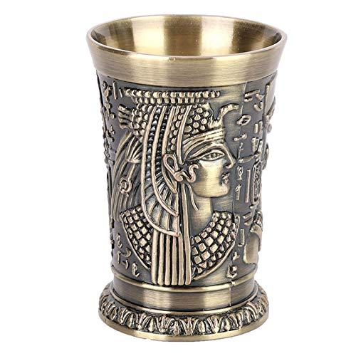 Copa de vino, copa de metal, pequeño vaso de chupito, estilo Vintage egipcio, mini taza en relieve, arte artesanal, regalo, decoración para el hogar