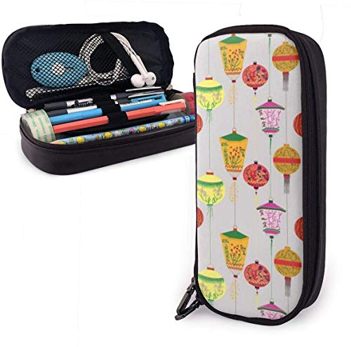 Lamp Pattern PU Leather Pouch Storage Bags Portable Student Pencil Office Stationery Bag Zipper Wallets Makeup Multi-function Bag