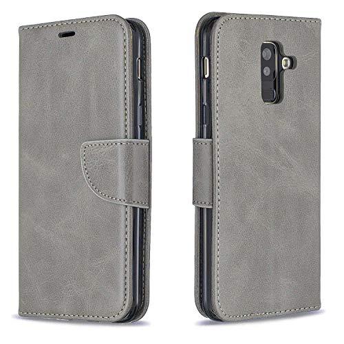 GIMTON Hülle für Galaxy A6 Plus 2018, Kratzfestes PU Leder mit Magnetisch Verschluss und Kartenfach für Samsung Galaxy A6 Plus 2018, Hochwertige Brieftasche Tasche, Grau