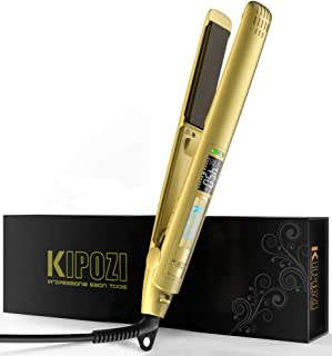KIPOZI Professional Flat Iron with 1 Inch Titanium Ion Plates Hair Straightener Adjustable Temperature Suitable for All Hair Types Makes Hair Shiny and Silky Heats Up Fast Dual Voltage Bright Gold
