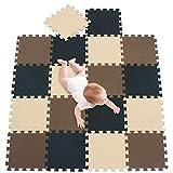 meiqicool Alfombra puzle 142 x 114cm Niños 18 Piezas Cuadrado Goma Espuma EVA,Alfombra Puzzle para Niños Bebe Infantil,esteras de 30x30cm Negro Marrón y Beige 040610