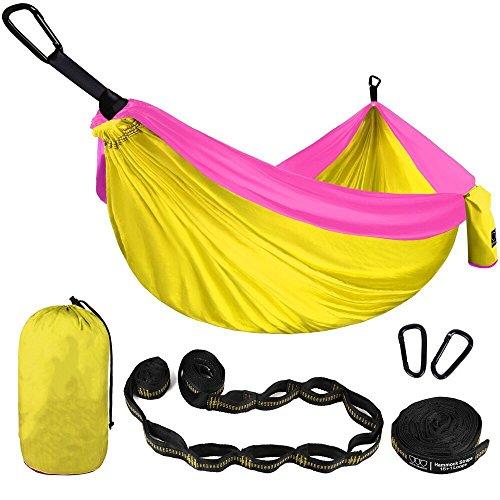 TYJKL Hamaca portátil de Camping Hamaca Doble-Ligero paracaídas Hamaca portátil Incluyendo la Correa de Nylon y Acero mosquetón (Color : Yellow, Size : L)