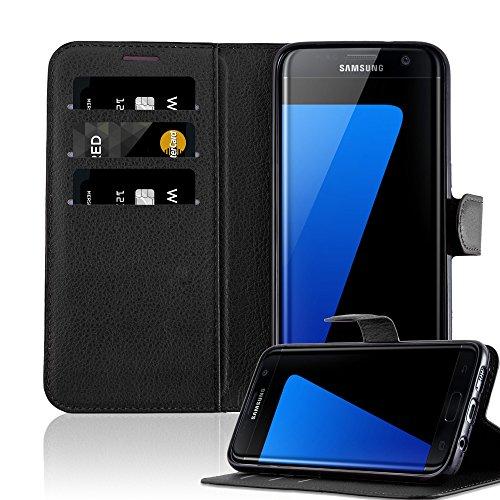 Cadorabo Funda Libro para Samsung Galaxy S7 Edge en Negro Fantasma - Cubierta Proteccíon con Cierre Magnético, Tarjetero y Función de Suporte - Etui Case Cover Carcasa