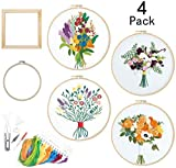 Bordado Kit for principiantes, 4 paquetes de bordado kit de inicio con el modelo, estampado bordado a mano Set for principiantes adultos de los niños, con Free bastidor de bordado y marco de fotos