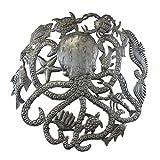 Global Crafts 23' Recycled Handmade Haitian Metal Wall Art Sea Life, Octopus and Sea Life (HMDOCT2)