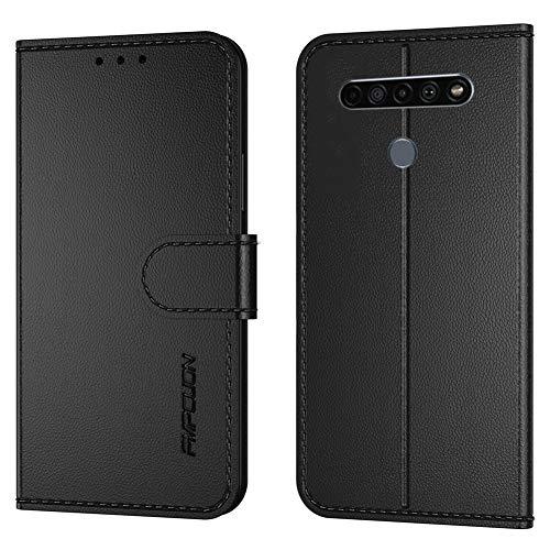 FMPCUON Handyhülle Kompatibel mit LG K61/Q61(Neueste),Premium Leder Flip Schutzhülle Tasche Hülle Brieftasche Etui Hülle für LG K61/Q61,Schwarz