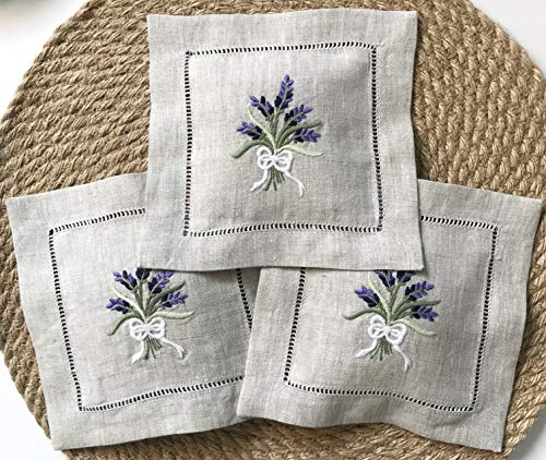Hand Embroidered Lavender Pillow Sachet Bag Wheat Embroidery naturl Linen Cushion 6'x6', Set of 3 (Purple)