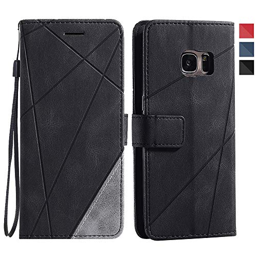 Asuwish Galaxy S7 Wallet Case,Leather Phone Cases with Credit Card Holder Slot Pockets Kickstand Flip Folio Shockproof TPU Protective Cover for Samsung Glaxay S 7 7s GS7 SM Women Men Girls Black
