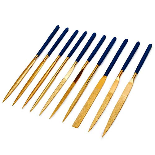Diamant-Nadelfeilen / Diamantfeilen Kunststoffgriffe für Gitarre Bünde weichem Metall Holz und Kunststoff, 10-tlg set.(140mm)