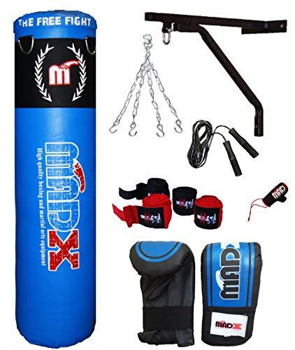 MADX - Juego de 7 Piezas de Boxeo de 1,52 m con Relleno de Saco de Boxeo Pesado, Guantes, Cadena, Soporte, Bolsa de Kickbag