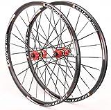 YZU Juego de ruedas de freno de disco 700c rueda de bicicleta de carretera de 23,5 mm de ancho, llanta recta de tracción CX-Ray radio, rodamiento sellado de 1680 g, cassette 8-11s, buje rojo, 700c