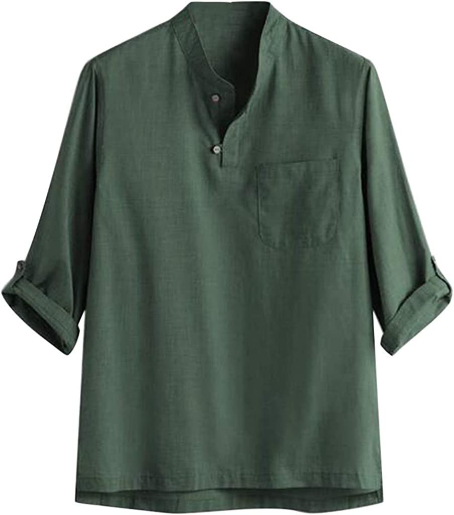 VEKDONE Mens Linen Henley Shirts 3/4 Sleeve Henley V-Neck Hippie Shirts Casual Summer Beach Loose Fit Yoga Tops Blouse